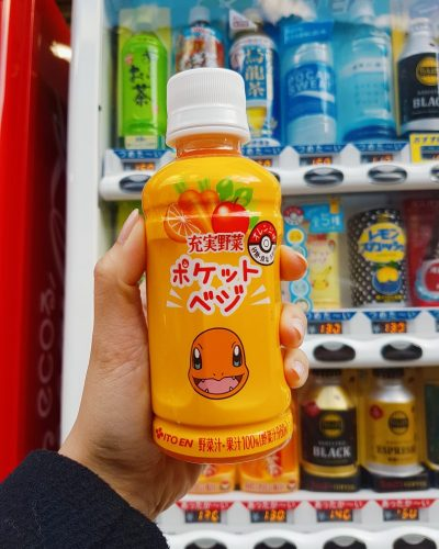 Pokemon theme vending machine vegetable juice